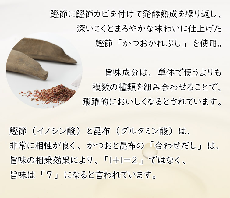 素材薫るだしお試しキャンペーン<今だけお試し6袋入>素材は「かつおかれぶし」と「昆布」のみ 素材100% 食塩・化学調味料無添加