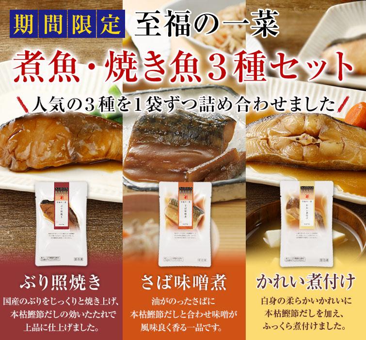 煮魚・焼き魚3種セット